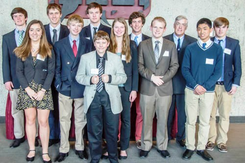 The Lyme-Old Lyme High School Model UN Conference team gathers for a group photo.