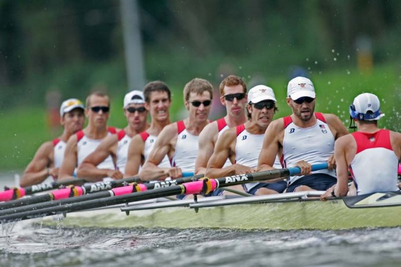 Austin Hack, fourth from left, is hard at work in this file photo of the US Men's U23 Eight.