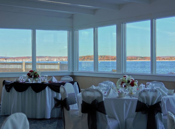 The famous view through the windows of the Dock & Dine restaurant.