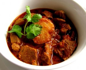 Indian lamb curry with potatoes.