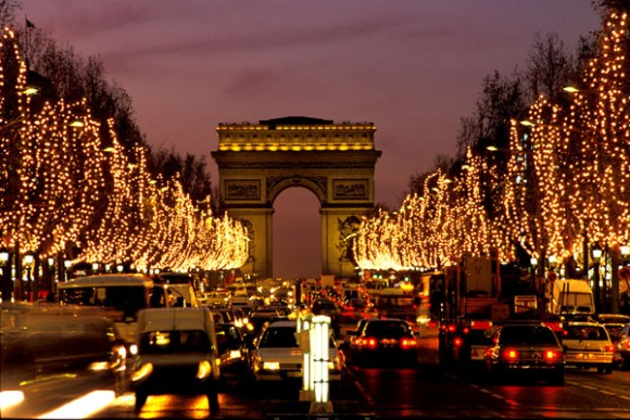 The Champs-Elysees in Paris with Christmas lights.