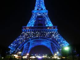 The Eiffel Tower decorated for Christmas.