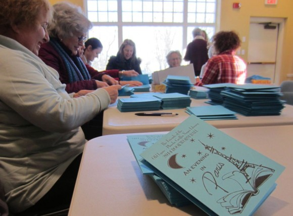On a recent morning at the Old Lyme PGN Library, Bookworm Ball organizers prepared invitations for mailing and sorted through auction donations.