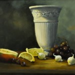 "Joan Wallace's 'Still Life with White Vase' in oil, 12"" x 16"", is one of the signature paintings at the LAA."