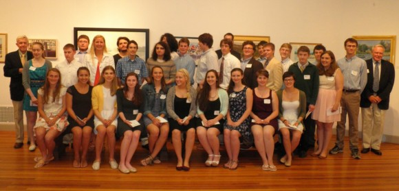 Recipients of MacCurdy Salisbury awards gather for a photo at the Lyme Art Association.