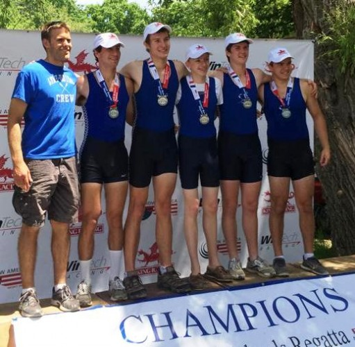 The Old Lyme boys' varsity rowing team stand proud after receiving their silver medals in the national competition.