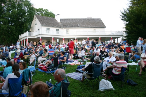 The crowd settles in to enjoy the Friday night concert at the Florence Griswold Museum.