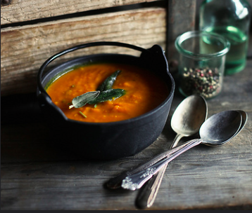 Roasted kabocha squash soup with pancetta and sage