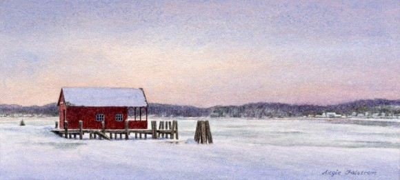 The signature piece of artwork, titled, 'Boathouse,' for the sale.