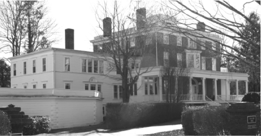 Boxwood Manor.  This photo by James Meehan is featured in the Old Lyme Historical Society's 2014 Now & Then' calendar.