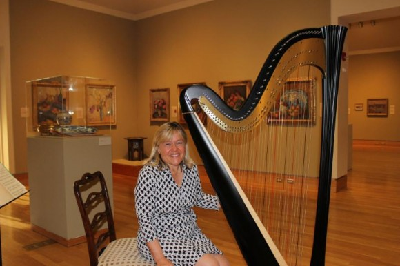 Faith Leitner will play her harp at the Florence Griswold Museum tomorrow.