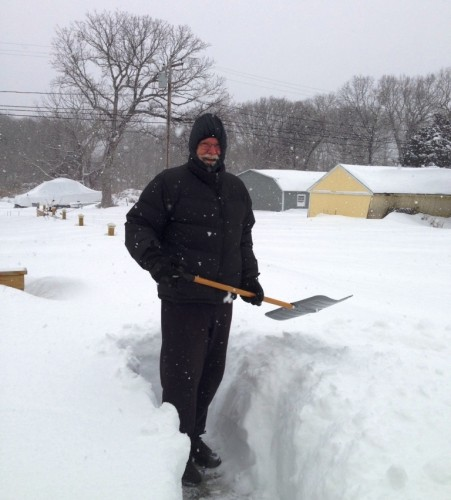 Or even this much.  Linda Graham sent in this photo of her husband John  digging out.