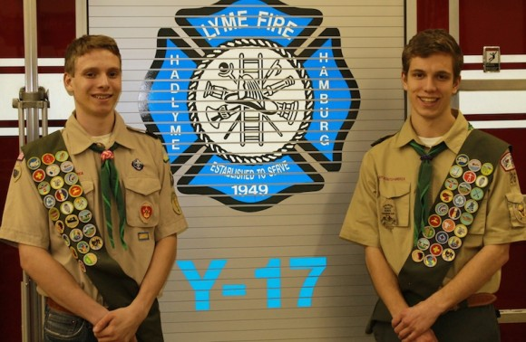 Luke Grabowski (left) and  Owen Mesham will receive their Eagle Scout awards at a Feb. 7 ceremony in Old Lyme.