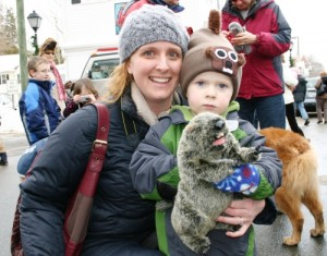 Joining in the groundhog fun at last year's parade.