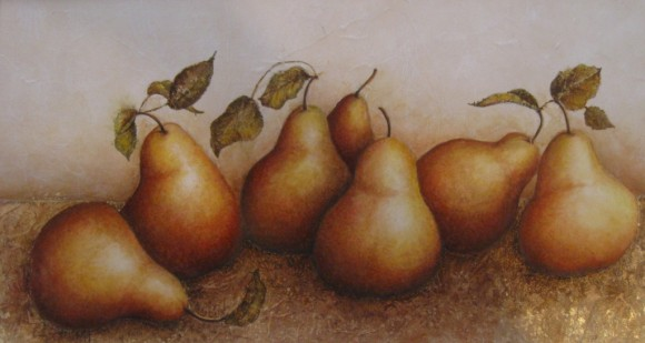 'Talking Pears' by Paula Dewell is featured in the 23rd Annual Associate Artists exhibition.