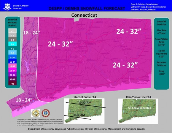 Updated map of predicted state snowfall accumulations.