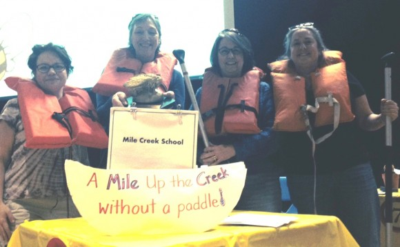"The winning ""A Mile Up the Creek Without a Paddle"" team from Mile Creek School"