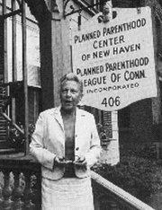 Civil rights pioneer Estelle Griswold stands outside the offices of Planned Parenthood in New haven, Conn.
