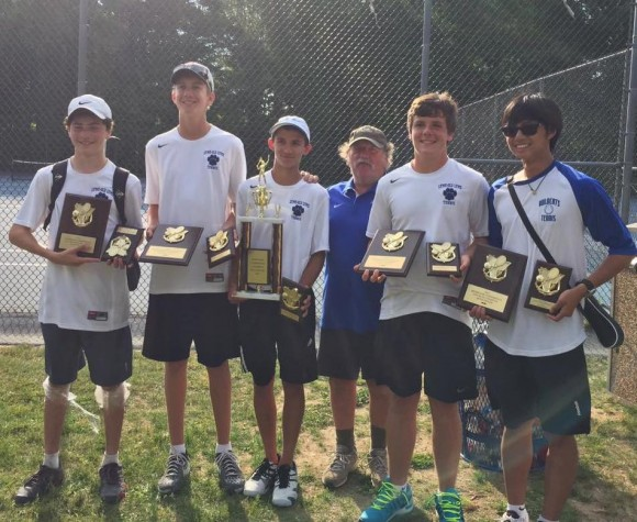 Lyme-Old Lyme boys pulled off a clean sweep of yesterday's Shoreline Tennis Championship.