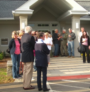 Townspeople gather to celebrate the dedication of the new Lyme Town Hall and Library.