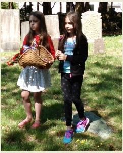 Taking flowers to the veteran's graves.