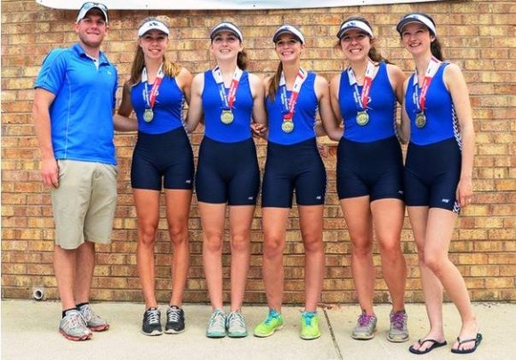 The girls 2nd boat pose with their coach Steve Baranoski and their medals. From left to right, Lauren Dolishny,  Alexis Kolar, Caleigh O'Neil, Hannah Wilczewski and Francesca Melluzzo (cox).