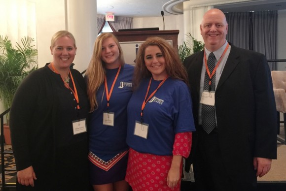 From left to right, Missy Garvin, Youth Programs Coordinator at Lymes' Youth Service Bureau,  Lyme-Old Lyme High School seniors Julia Strycharz and Taylor Hamparian, and Old Lyme Police Officer Martin Lane at the annual conference of the Coalition for Juvenile Justice in Washington, DC.
