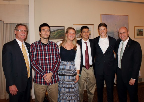 The Lyme-Old Lyme Chamber honors its scholarship winners. From left to right are State Senator Paul Formica, Eli Kuhn, Sloane Sweitzer, Gabriel Barclay, Brett Hartmann and State Representative Devin Carney.