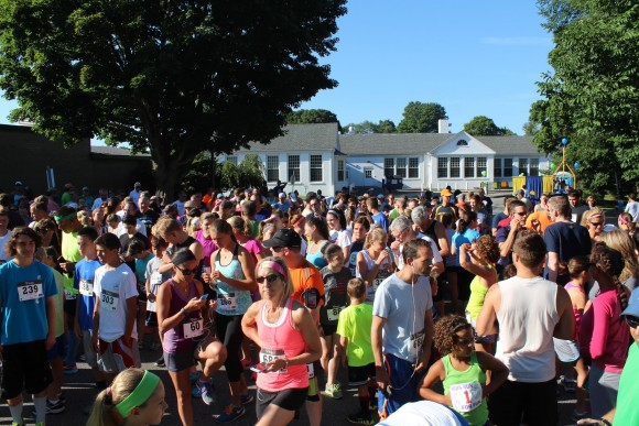 Shortly before 8 a.m. when the 5K race began, a large crowd thronged the starting line.