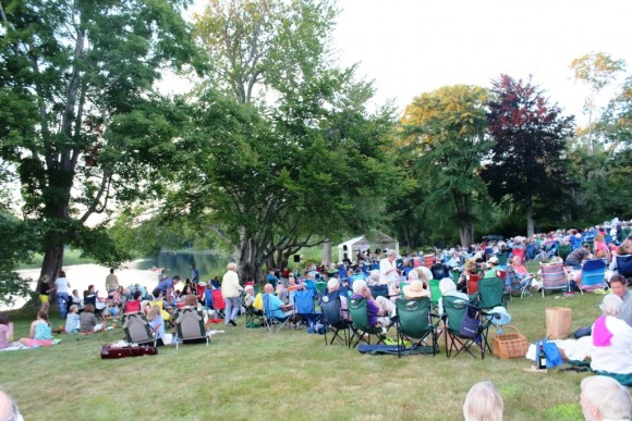 Enjoying the Friday night concert on the Florence Griswold's lawn on the banks of the Lieutenant River.