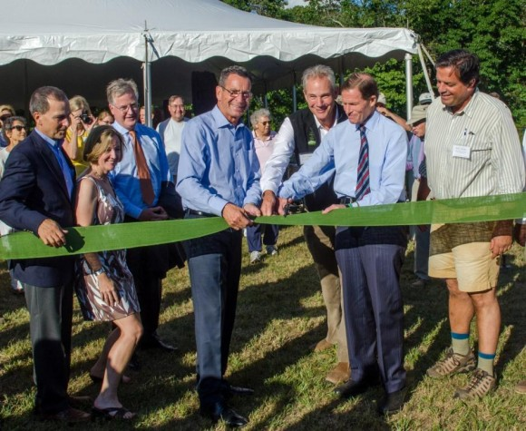 Governor Dannel Malloy and Sen. Richard Blumenthal cut the ribbon. (L to R: Carl Fortuna, Old Saybrook First Selectman, Alicia Sullivan, CT State Director of the Trust for Public Land, State Representative Brendan Sharkey, Speaker of the House, Gov. Dannel Malloy, Will Rogers, President and CEO of The Trust for Public Land, Sen. Richard Blumenthal, State Representative Phil Miller).