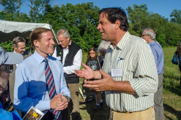 U.S. Senator Richard Blumenthal (left) chats with State Representative Phil Miller after the ribbon-cutting.