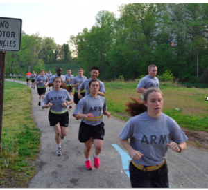 Cadet Allyson McCarthy (right) trains on the University of Maryland campus.