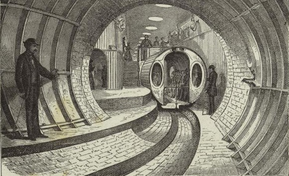 "A station inside the""Pneumatic Transit"" system."