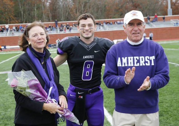 All American Jimmy Fairfield-Sonn stands with his proud parents, Lynn and Jim Fairfield-Sonn of Old Lyme.