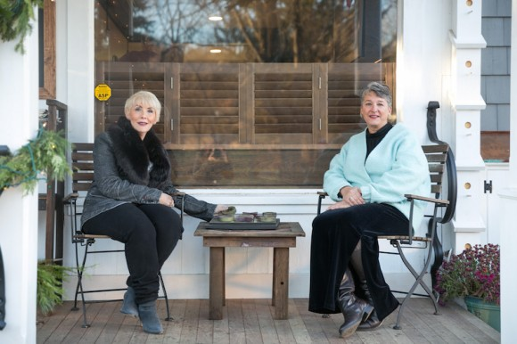 Hadlyme Country Market owners Susan Raible Birch (left) and Lisa Bakoledis (right) share a rare quiet moment together.