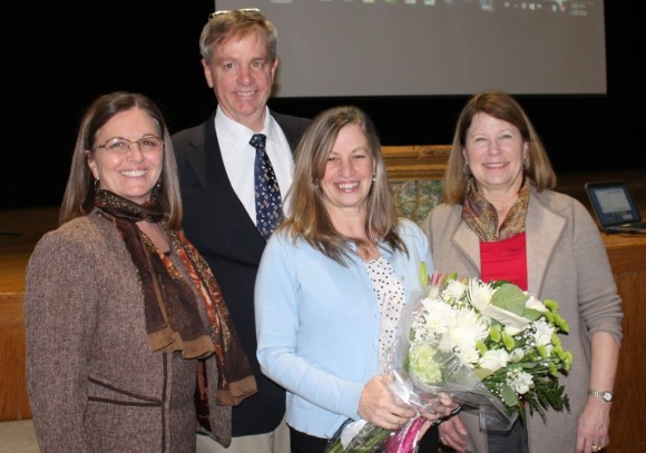 The Old Lyme Board of Selectmen stands with their Citizen of the Year 2015.