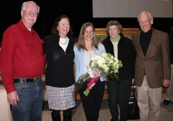 Former Old Lyme Citizens of the Year stand with the latest one to receive the honor: from left to right, Bob Pierson (2012), Lynn Fairfield-Sonn (2014), Jeff Sturges (2011) and Peter Cable (2013)