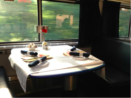 An Amtrak dining car, from the Amtrak blog.
