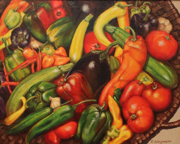 'Ratatouille,' oil, by Cheryl Weyman is the signature painting of the Palette to Palate segment of the exhibition.