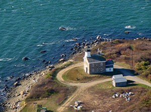 Aerial voew of Plum Island lighthouse. (From Preserve Plum Island website)