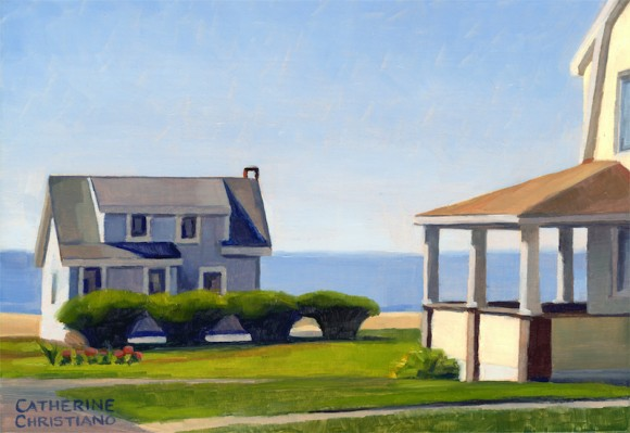 "Featured in the Gallery One exhibition at the Guilford Art Center is ""Cottages, White Sands Beach #9"" by Catherine Christiano, oil on panel, 4 1/4 x 6 inches, 2014."
