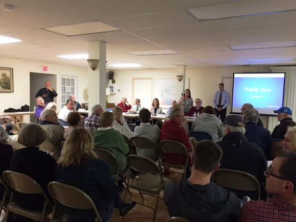 Question time was lively at Monday's Sound View informational meeting.